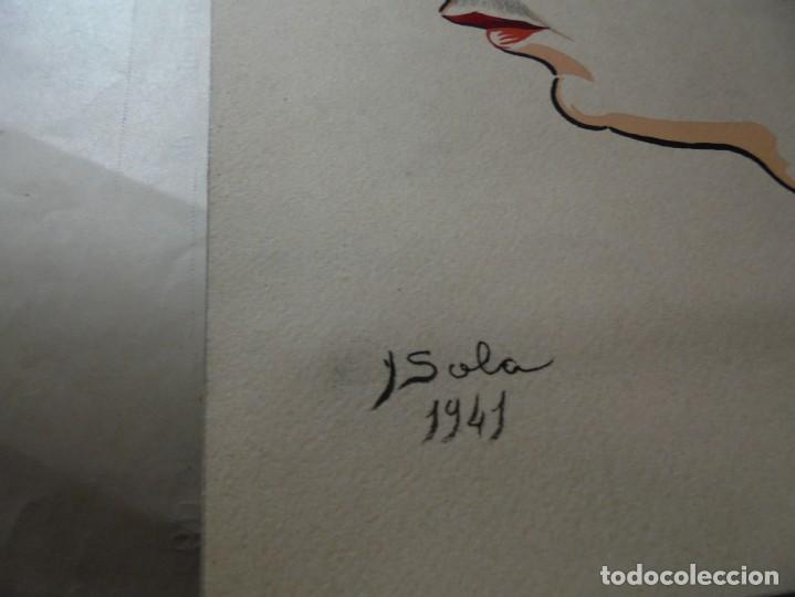 Arte: magnifico antiguo dibujo coloreado en acuarela,firmado y fechado - Foto 3 - 248603315