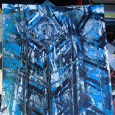 Arte: TORRE DE HÉRCUES POR EL CHANO MIDE 32 X 24CM. ART-BRUT ÓLEO SOBRE CARTULINA FIRMADO EL CHANO. Lote 248767740