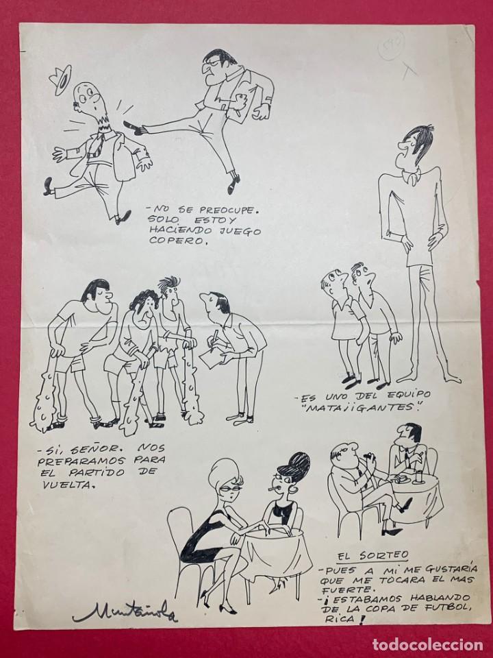 DIBUJO ORIGINAL DE MUNTAÑOLA PUBLICADO EN R.B (REVISTA BARCELONISTA) (Arte - Dibujos - Contemporáneos siglo XX)