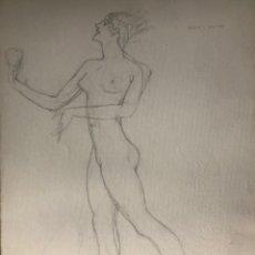 Arte: ISMAEL SMITH, DIBUJO A LÁPIZ DE 1918 CON SELLO SECO DE LA TESTAMENTARÍA. Lote 242955825