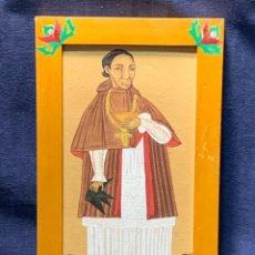 Arte: GOUACHE PAPEL SINCRETISMO INDONESIA RETRATO CLERIGO SACERDOTE EUROPEO CATOLICO MITAD S XX26X17CMS. Lote 249268450