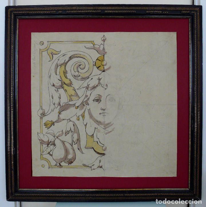 GRAND DESSIN NAPOLEON III DISEÑO DIBUJO CARA JOVEN XIX FRANCES ACUARELLA DECORACION MARCO DORADO (Arte - Dibujos - Modernos siglo XIX)