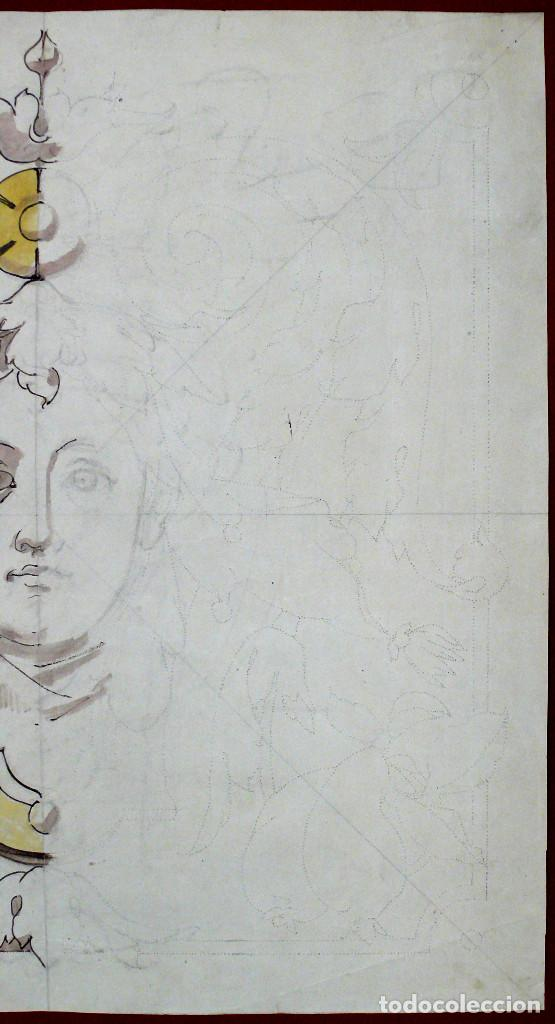 Arte: GRAND DESSIN NAPOLEON III DISEÑO DIBUJO CARA JOVEN XIX FRANCES ACUARELLA DECORACION MARCO DORADO - Foto 4 - 249271265