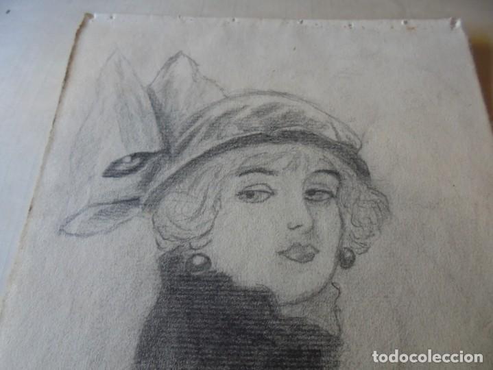 Arte: magnifico antiguo dibujo firmado y fechado 1920 - Foto 2 - 249284845