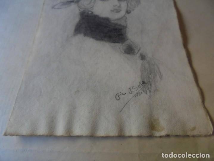 Arte: magnifico antiguo dibujo firmado y fechado 1920 - Foto 4 - 249284845