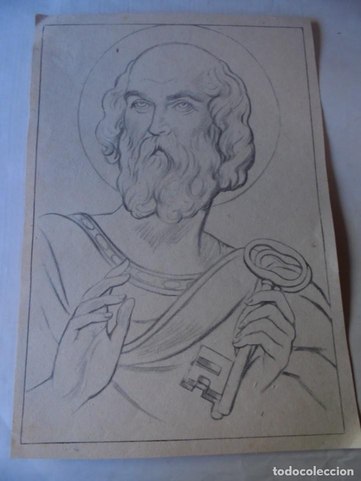 MAGNIFICOS CCUATRO DIBUJOS RELIGIOSOS (Arte - Dibujos - Contemporáneos siglo XX)