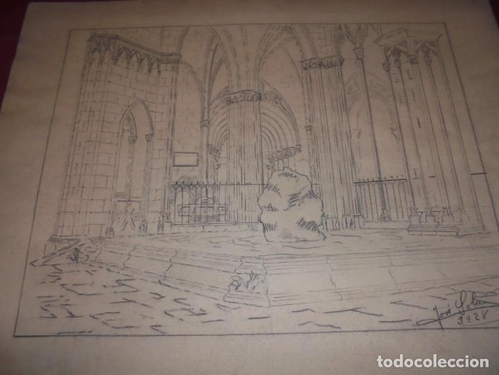 Arte: magnifico antiguo dibujo firmado y fechado 1928 - Foto 2 - 249299905