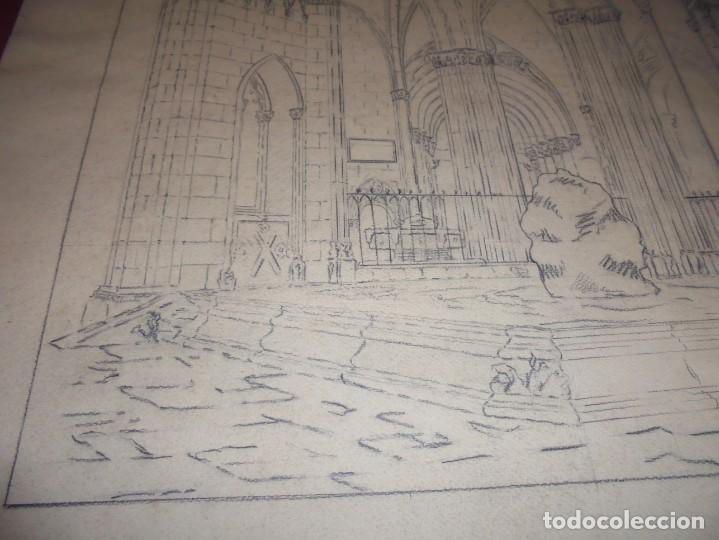 Arte: magnifico antiguo dibujo firmado y fechado 1928 - Foto 4 - 249299905