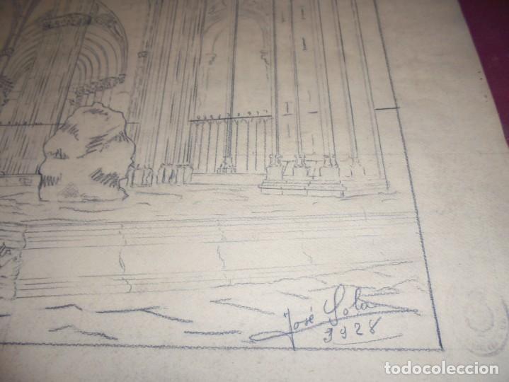 Arte: magnifico antiguo dibujo firmado y fechado 1928 - Foto 5 - 249299905