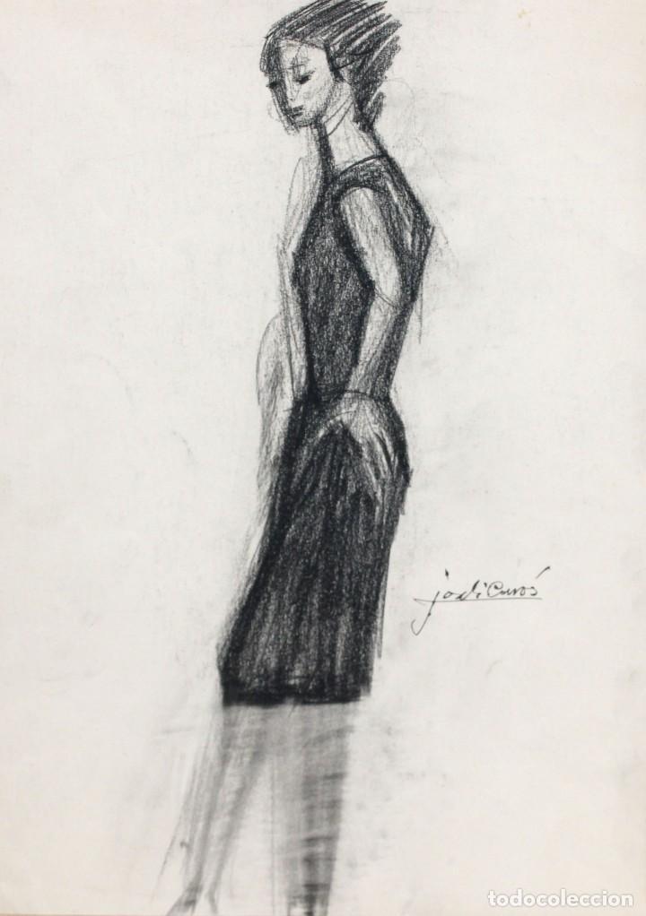 Arte: JORDI CURÓS VENTURA (1930 - 2017) PAREJA DE DIBUJOS A CARBON. RETRATOS FEMENINOS - Foto 2 - 249443440