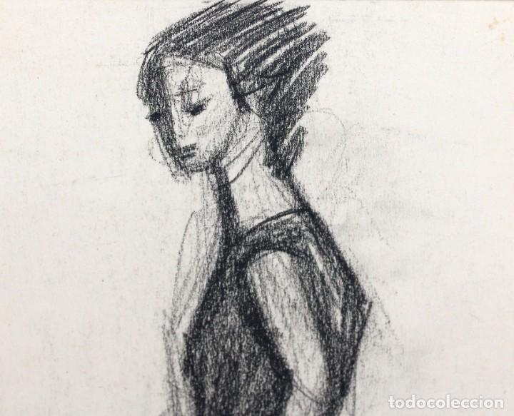 Arte: JORDI CURÓS VENTURA (1930 - 2017) PAREJA DE DIBUJOS A CARBON. RETRATOS FEMENINOS - Foto 3 - 249443440