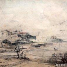 Arte: SEGUNDO MATILLA MARINA (MADRID, 1862 - TEIÀ, 1937) TECNICA MIXTA Y CARBON EN PAPEL. PAISAJE COSTERO. Lote 249455560