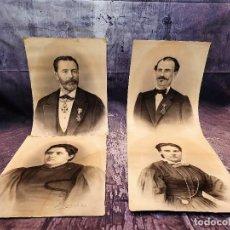 Arte: ANTIGUOS RETRATOS PINTADOS AL CARBONCILLO FIRMADOS Y FECHADOS EN 1896. Lote 249606630