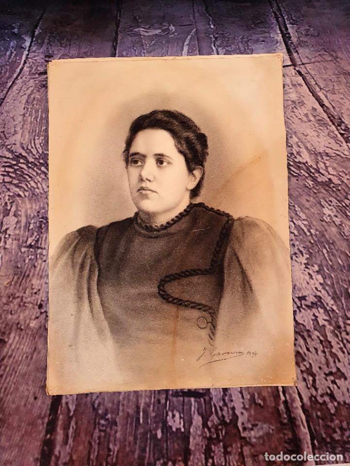 Arte: ANTIGUOS RETRATOS PINTADOS AL CARBONCILLO FIRMADOS Y FECHADOS EN 1896 - Foto 4 - 249606630
