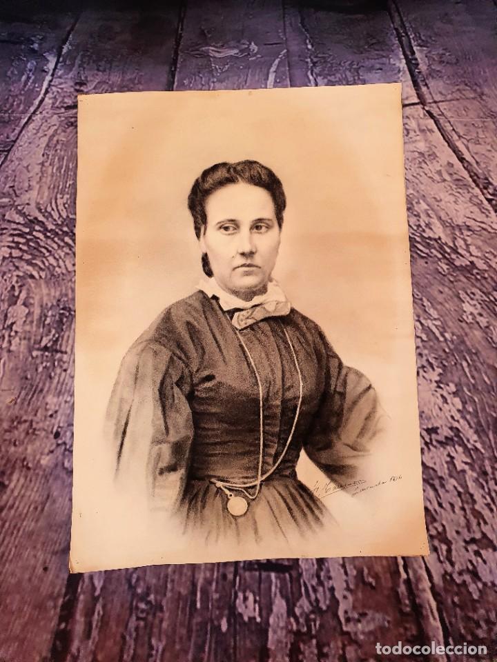 Arte: ANTIGUOS RETRATOS PINTADOS AL CARBONCILLO FIRMADOS Y FECHADOS EN 1896 - Foto 5 - 249606630