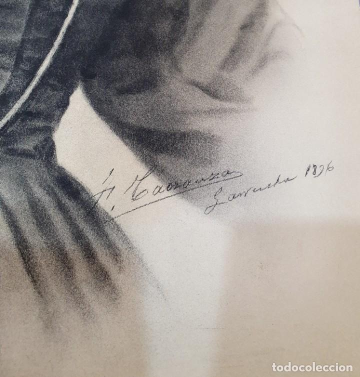 Arte: ANTIGUOS RETRATOS PINTADOS AL CARBONCILLO FIRMADOS Y FECHADOS EN 1896 - Foto 6 - 249606630