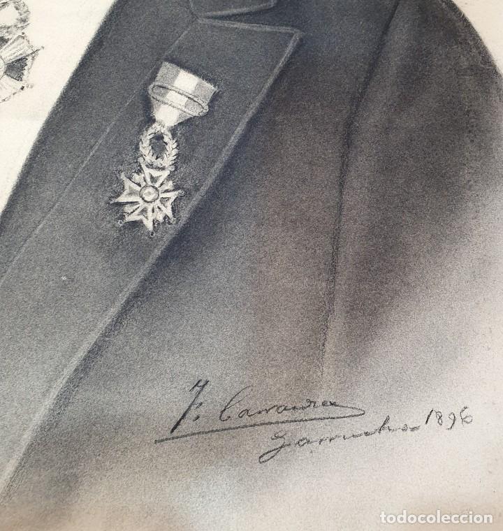 Arte: ANTIGUOS RETRATOS PINTADOS AL CARBONCILLO FIRMADOS Y FECHADOS EN 1896 - Foto 8 - 249606630