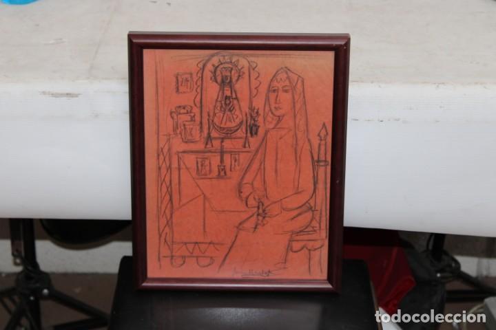 JOAN BROTAT VILANOVA (1920 - 1990) DIBUJO A CARBON. ESCENA RELIGIOSA (Arte - Dibujos - Contemporáneos siglo XX)