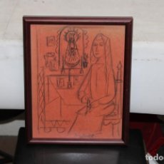 Arte: JOAN BROTAT VILANOVA (1920 - 1990) DIBUJO A CARBON. ESCENA RELIGIOSA. Lote 251151440