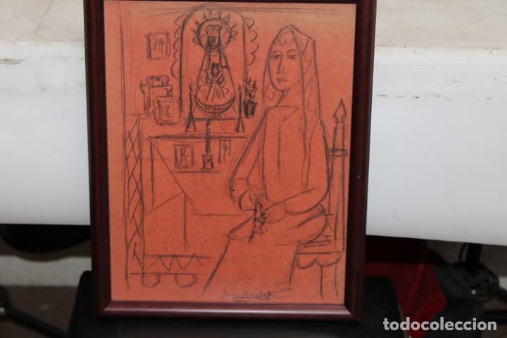 Arte: JOAN BROTAT VILANOVA (1920 - 1990) DIBUJO A CARBON. ESCENA RELIGIOSA - Foto 2 - 251151440