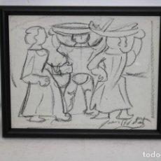 Arte: JOAN BROTAT VILANOVA (1920 - 1990) DIBUJO A CARBON. PERSONAJES. Lote 251154140