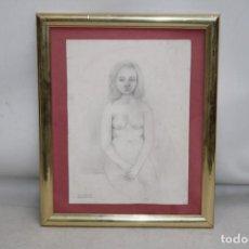 Arte: AGUSTI GUASCH GOMEZ (BARCELONA, 1913 - ??) DIBUJO A CARBON. RETRATO FEMENINO. Lote 251155190