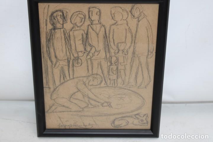 Arte: JOAN BROTAT VILANOVA (1920 - 1990) DIBUJO A CARBON. PERSONAJES - Foto 2 - 251158355