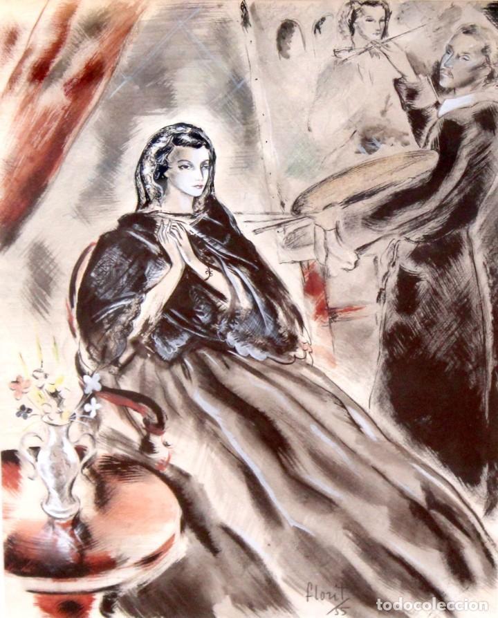 JOSE LUIS FLORIT RODERO (1909 - 2000) TECNICA MIXTA FECHADA DEL AÑO 1955. EL PINTOR Y LA MODELO (Arte - Dibujos - Contemporáneos siglo XX)