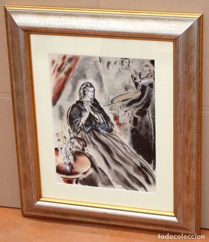 Arte: JOSE LUIS FLORIT RODERO (1909 - 2000) TECNICA MIXTA FECHADA DEL AÑO 1955. EL PINTOR Y LA MODELO - Foto 2 - 252168280
