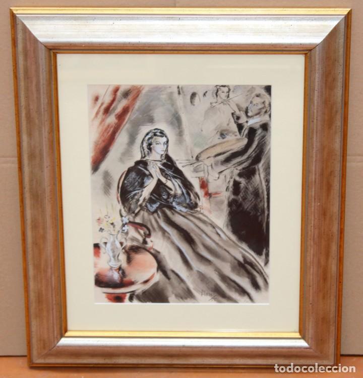 Arte: JOSE LUIS FLORIT RODERO (1909 - 2000) TECNICA MIXTA FECHADA DEL AÑO 1955. EL PINTOR Y LA MODELO - Foto 3 - 252168280