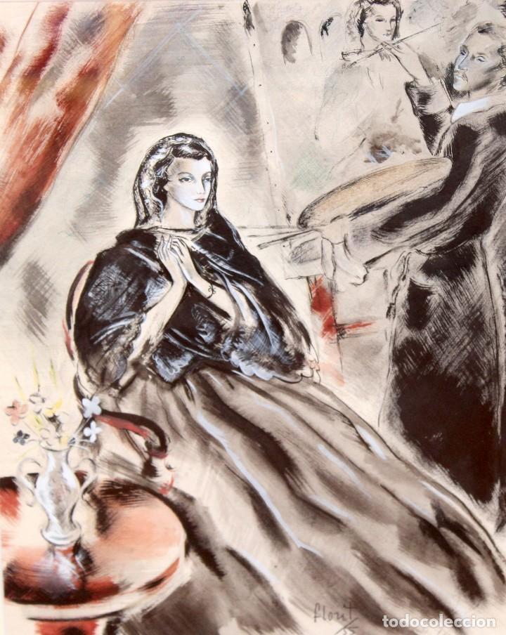Arte: JOSE LUIS FLORIT RODERO (1909 - 2000) TECNICA MIXTA FECHADA DEL AÑO 1955. EL PINTOR Y LA MODELO - Foto 4 - 252168280