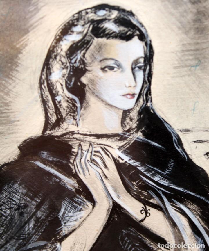 Arte: JOSE LUIS FLORIT RODERO (1909 - 2000) TECNICA MIXTA FECHADA DEL AÑO 1955. EL PINTOR Y LA MODELO - Foto 5 - 252168280