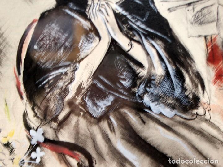 Arte: JOSE LUIS FLORIT RODERO (1909 - 2000) TECNICA MIXTA FECHADA DEL AÑO 1955. EL PINTOR Y LA MODELO - Foto 6 - 252168280