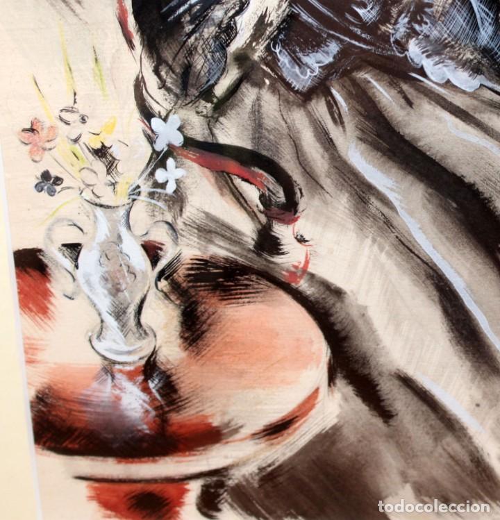 Arte: JOSE LUIS FLORIT RODERO (1909 - 2000) TECNICA MIXTA FECHADA DEL AÑO 1955. EL PINTOR Y LA MODELO - Foto 7 - 252168280