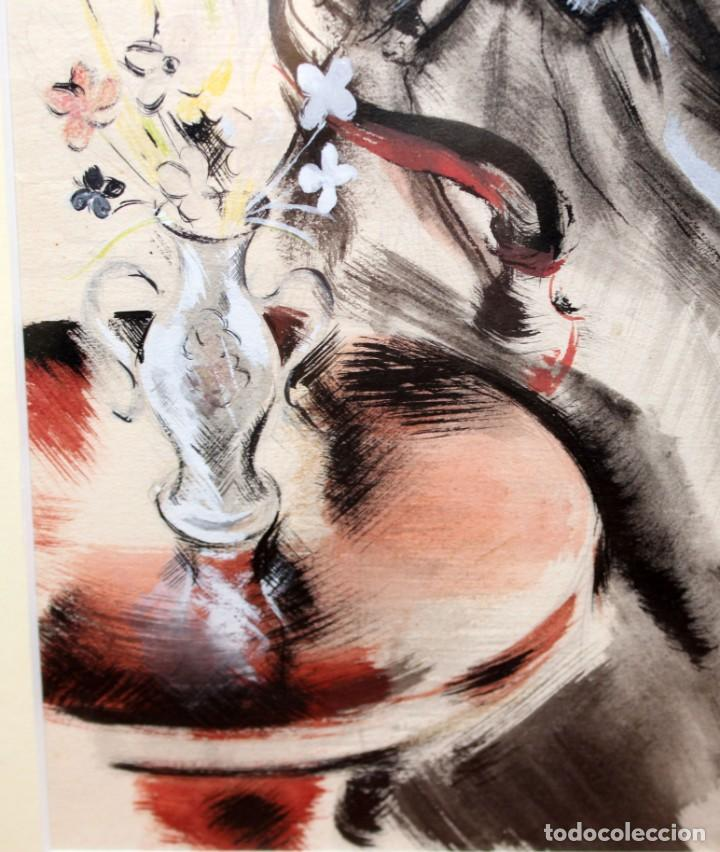 Arte: JOSE LUIS FLORIT RODERO (1909 - 2000) TECNICA MIXTA FECHADA DEL AÑO 1955. EL PINTOR Y LA MODELO - Foto 8 - 252168280