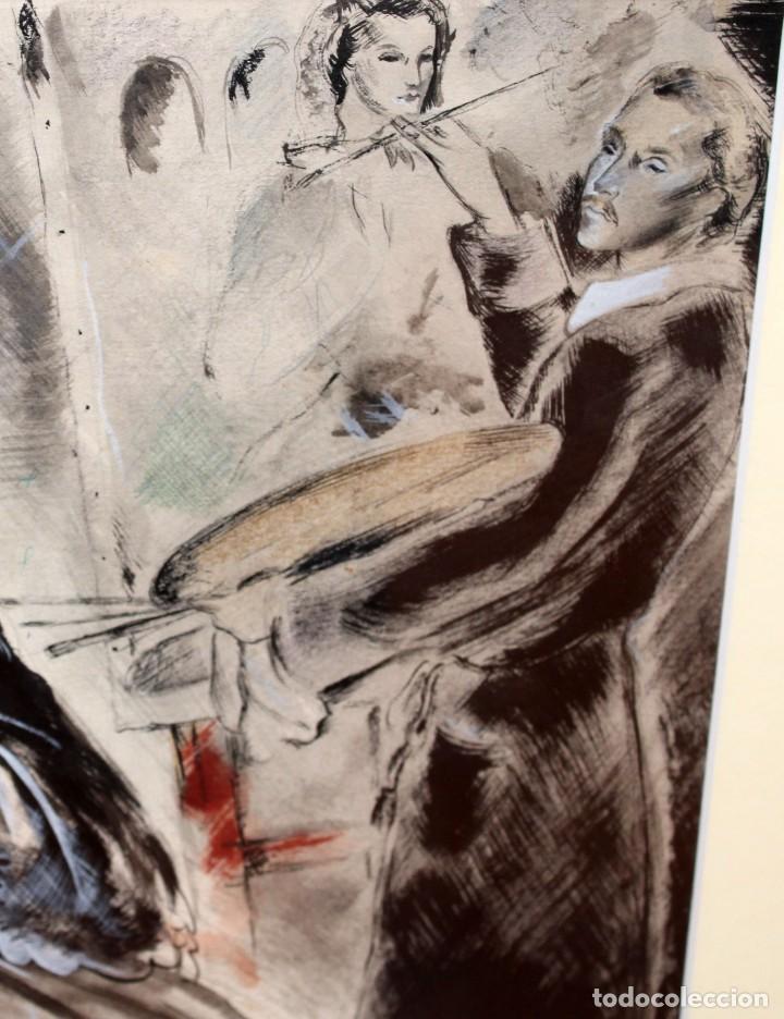 Arte: JOSE LUIS FLORIT RODERO (1909 - 2000) TECNICA MIXTA FECHADA DEL AÑO 1955. EL PINTOR Y LA MODELO - Foto 9 - 252168280