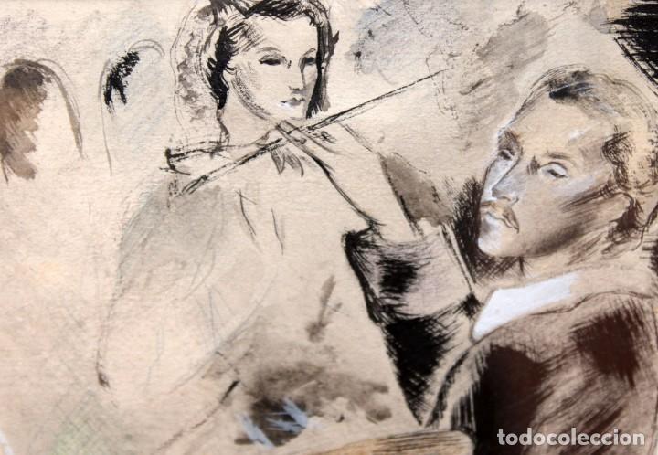 Arte: JOSE LUIS FLORIT RODERO (1909 - 2000) TECNICA MIXTA FECHADA DEL AÑO 1955. EL PINTOR Y LA MODELO - Foto 10 - 252168280