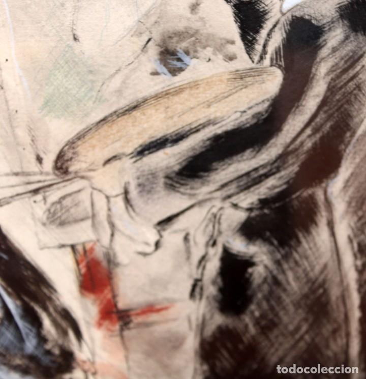 Arte: JOSE LUIS FLORIT RODERO (1909 - 2000) TECNICA MIXTA FECHADA DEL AÑO 1955. EL PINTOR Y LA MODELO - Foto 11 - 252168280