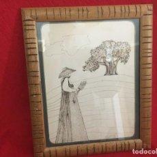 Arte: MUJER IBICENCA, DIBUJO ENMARCADO Y FIRMADO 1978. Lote 252420545