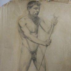 Arte: MANUEL RODRÍGUEZ Y CODOLÀ. ESTUDIO ACADÉMICO. HACIA 1890. CARBÓN Y TOQUES DE AGUADA. 62 X 44 CM.. Lote 252674075