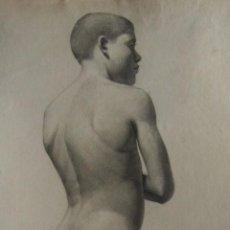 Arte: MANUEL RODRÍGUEZ Y CODOLÀ. ESTUDIO ACADÉMICO. HACIA 1890. CARBOCILLO. 61 X 32 CM.. Lote 252674540