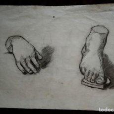 Arte: DIBUJO A LÁPIZ / * ESTUDIO DE MANO Y PIE... *. ANÓNIMO. PAPEL FILIGRANA: INGRES 1862. (S. XIX). Lote 253130490