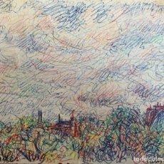Arte: DIBUJO VISTA DE PARIS, JOAN SOLER PUIG, FECHADO 1975. Lote 253306440