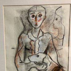 Art: MIQUEL TORNER DE SEMIR, PAREJA CON PERRO, TÉCNICA MIXTA SOBRE PAPEL,28,5X38,5 OBRA Y 55X85 CON MARCO. Lote 253965775