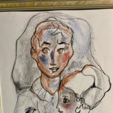 Art: MIQUEL TORNER DE SEMIR, DOS CHICAS Y PALOMA EN TÉCNICA MIXTA EN PAPEL, 32X37,5 CM OBRA. Lote 253977850