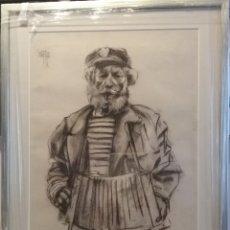 Arte: JOSE LUIS FUENTETAJA ( MADRID 1951). DIBUJO AL CARBÓN. MARINERO.. Lote 254332585