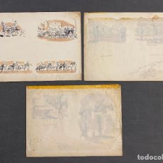 Arte: MOSS BROS , ORIGINALS DRAWINGS , 1965 APROX. EQUESTRIAN , MOSS BROTHERS. Lote 254666405