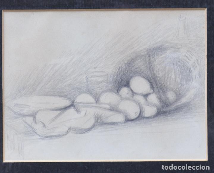 BODEGÓN DE FRUTAS, DIBUJO A LÁPIZ, ATRIBUIDO A MIQUEL VILLÀ. 21X16CM (Arte - Dibujos - Contemporáneos siglo XX)