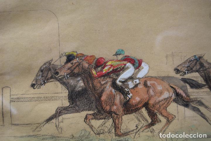 Arte: Cursa de caballos, dibujo, técnica mixta, firma ilegible, con marco. 39x29,5cm - Foto 2 - 254906455