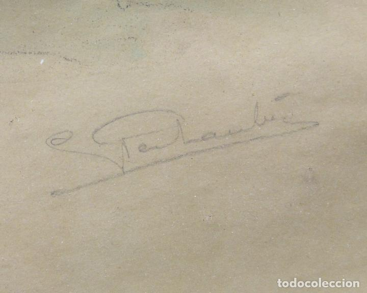 Arte: Cursa de caballos, dibujo, técnica mixta, firma ilegible, con marco. 39x29,5cm - Foto 3 - 254906455